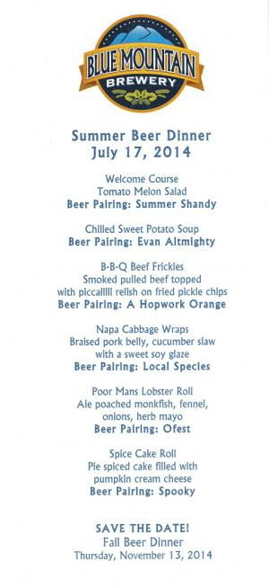 Blue Mountain Brewery 2014 Beer Dinner Afton